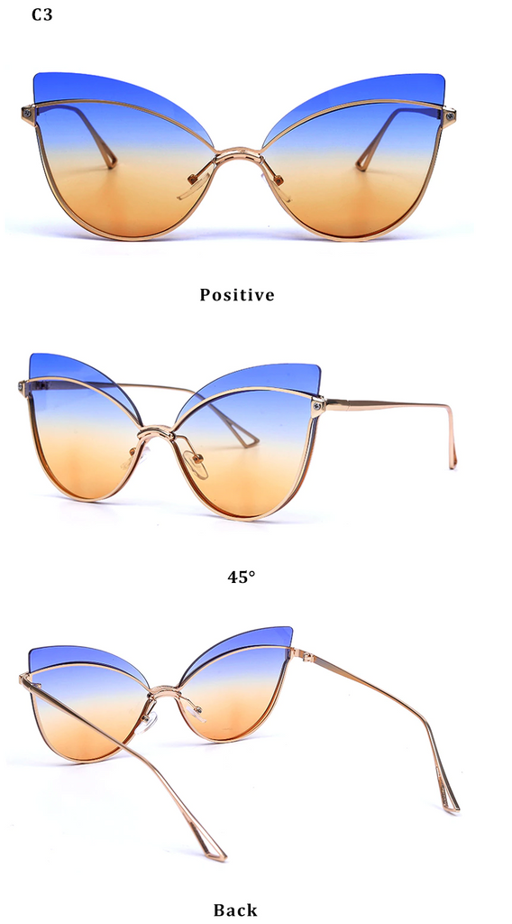 Luxury 2019 Fashion Butterfly Cat Eye Female Eyeglasses Shades UV 400 Vintage Glass Blue Tea Color