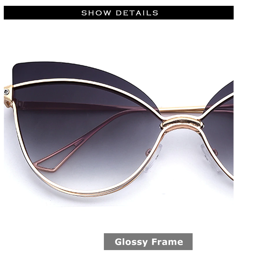 Luxury 2019 Fashion Butterfly Cat Eye Female Eyeglasses Shades UV 400 Vintage Glass Glossy Frame