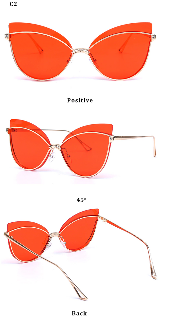 Luxury 2019 Fashion Butterfly Cat Eye Female Eyeglasses Shades UV 400 Vintage Glass Gold Red Film Color