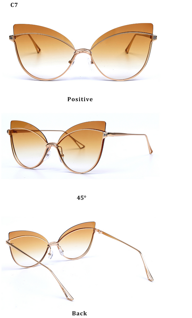 Luxury 2019 Fashion Butterfly Cat Eye Female Eyeglasses Shades UV 400 Vintage Glass Gradient Tea Color
