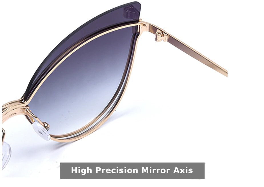 Luxury 2019 Fashion Butterfly Cat Eye Female Eyeglasses Shades UV 400 Vintage Glass high precision mirror axis