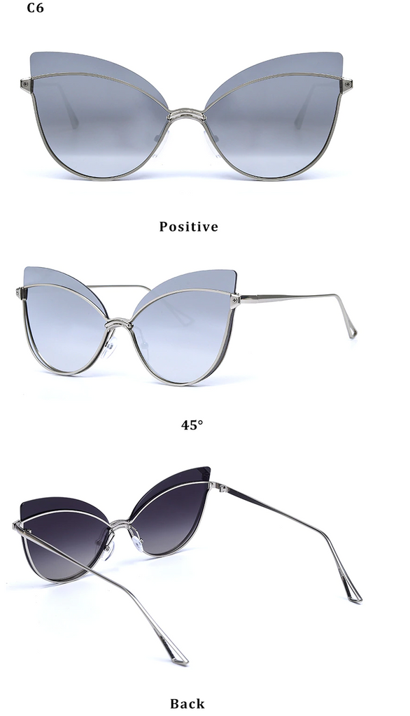 Luxury 2019 Fashion Butterfly Cat Eye Female Eyeglasses Shades UV 400 Vintage Glass Silver Gradient Gray