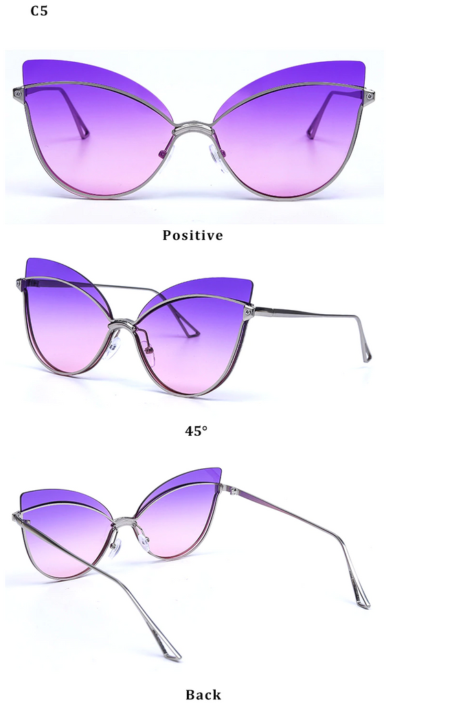 Luxury 2019 Fashion Butterfly Cat Eye Female Eyeglasses Shades UV 400 Vintage Glass Silver Gradient Purple Color