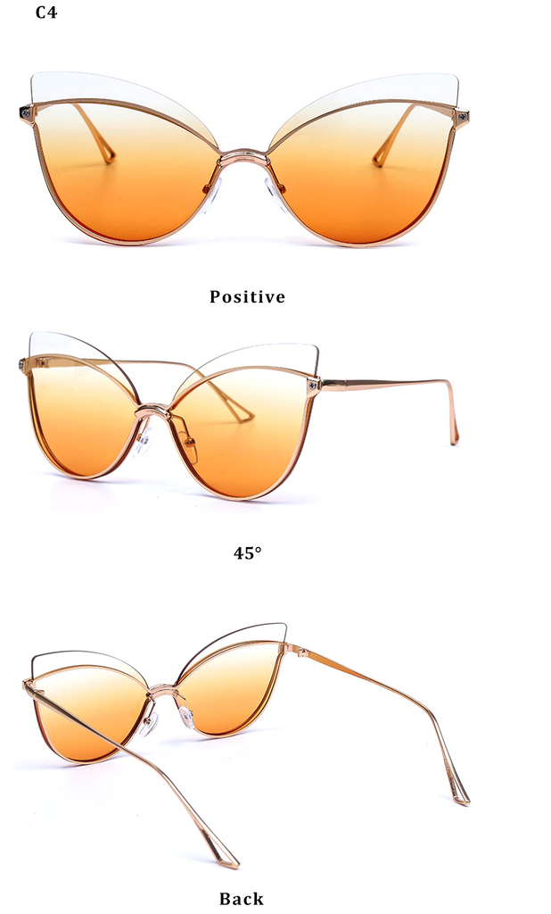 Luxury 2019 Fashion Butterfly Cat Eye Female Eyeglasses Shades UV 400 Vintage Glass Tea on White Color