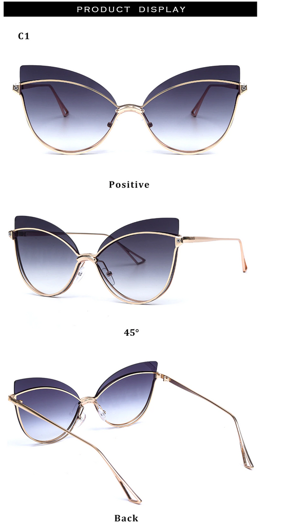 Luxury 2019 Fashion Butterfly Cat Eye Female Eyeglasses Shades UV 400 Vintage Glass Gold Gradient Black color
