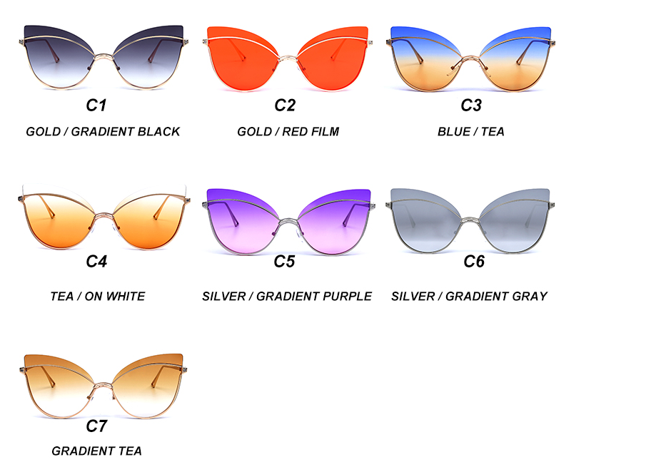 Luxury 2019 Fashion Butterfly Cat Eye Female Eyeglasses Shades UV 400 Vintage Glasses all colors