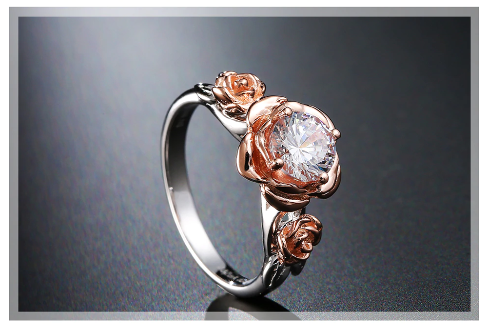 Natural Topaz Rose Flower Crystal, Beauty And The Beast Gemstone 925 Sterling Silver Engagement Ring