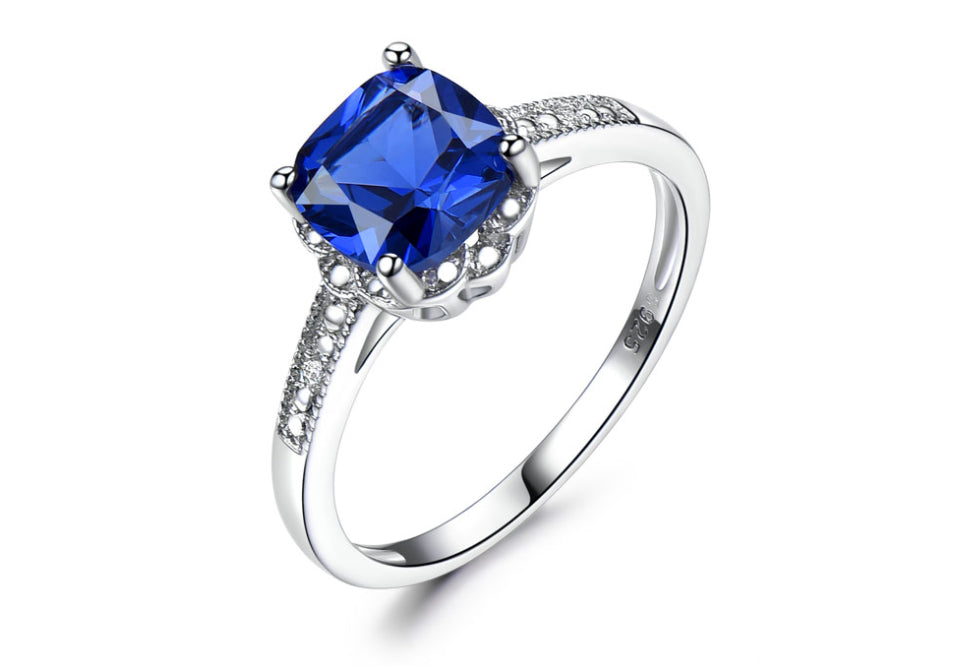 Solid 925 Sterling Silver Blue Sapphire Tanzanite Birthstone Wedding Engagement Rings For Women
