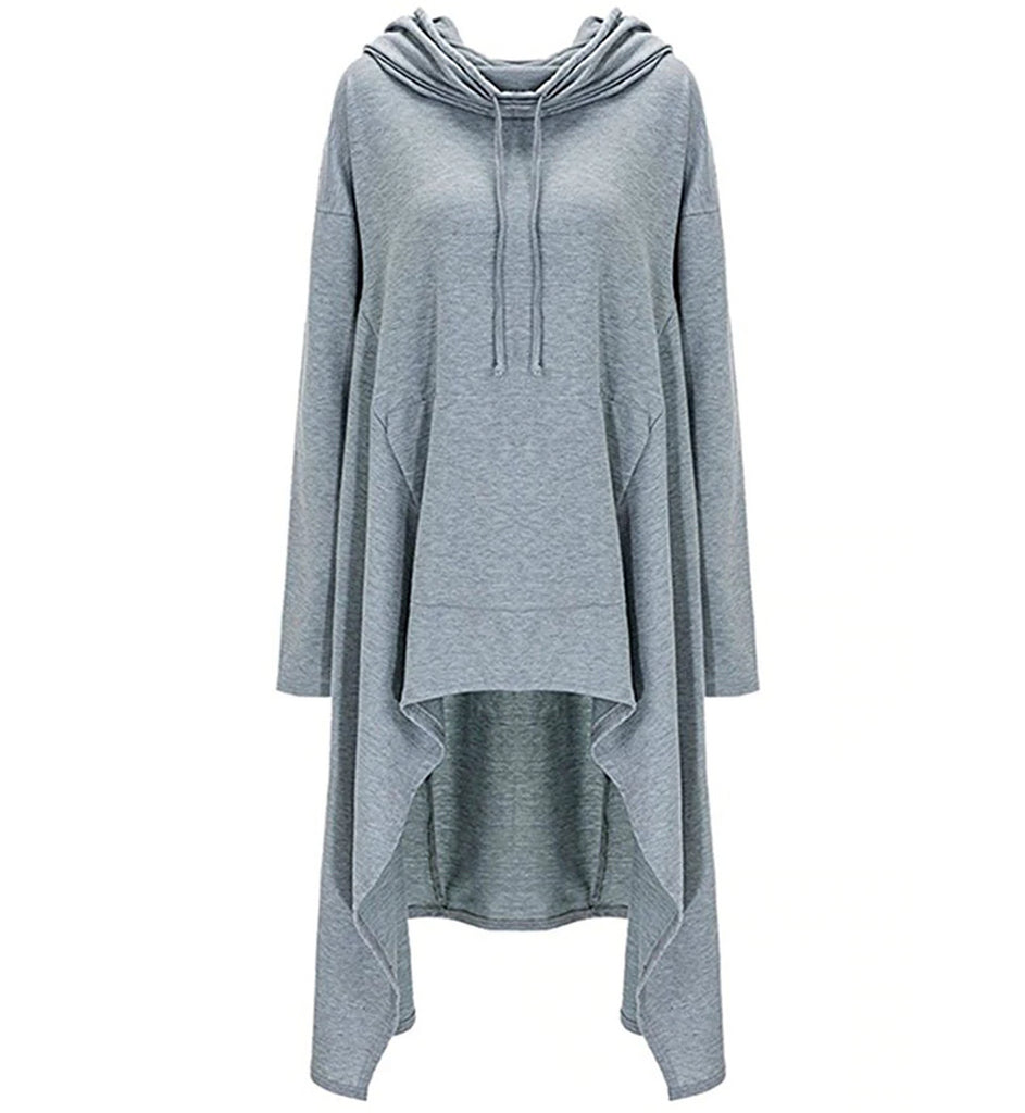 Autumn/Winter Plus Size Loose Long Sleeve Hooded Sweatshirt Female Casual Pullover Hoodie Ash Front