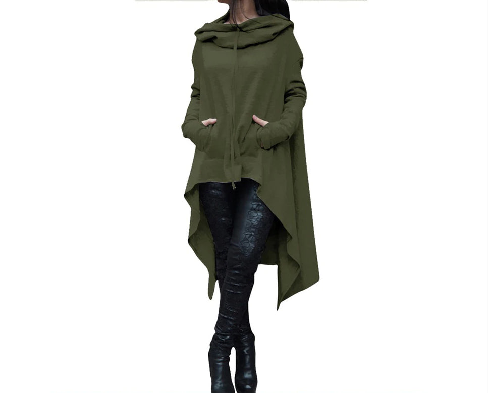 Autumn/Winter Plus Size Loose Long Sleeve Hooded Sweatshirt Female Casual Pullover Hoodie Army Green