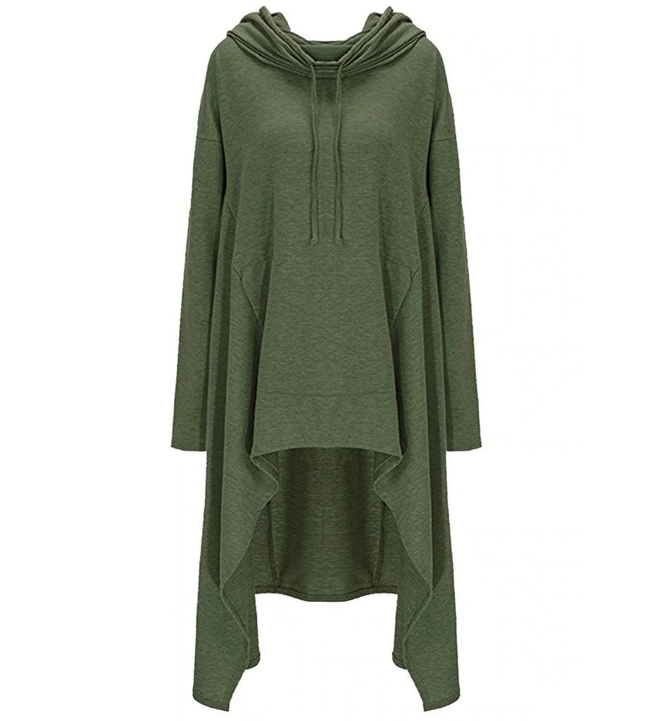 Autumn/Winter Plus Size Loose Long Sleeve Hooded Sweatshirt Female Casual Pullover Hoodie Army Green Front