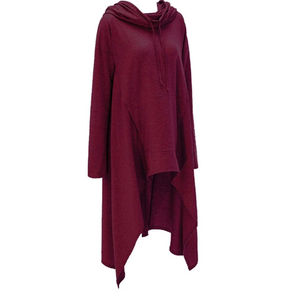 Autumn/Winter Plus Size Loose Long Sleeve Hooded Sweatshirt Female Casual Pullover Hoodie Burgundy front
