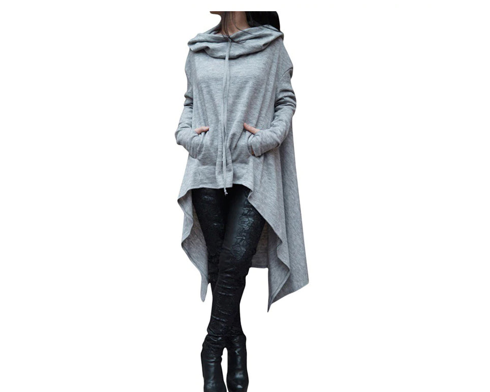 Autumn/Winter Plus Size Loose Long Sleeve Hooded Sweatshirt Female Casual Pullover Hoodie Ash
