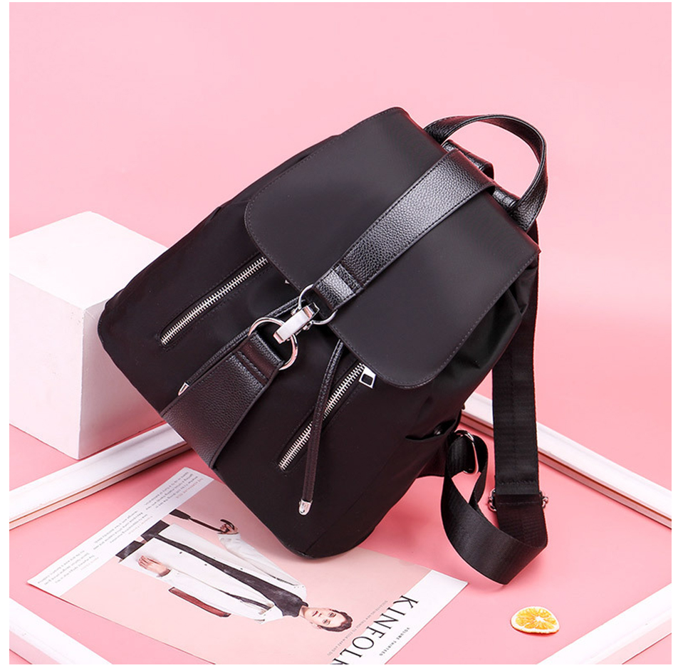 Women Backpack School Bags For Teenager Girls Nylon Zipper Lock Design Black