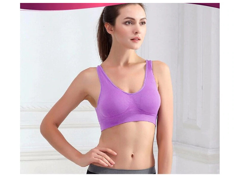Fitness Yoga Running Vest Underwear Padded Crop Top Sports Bra Purple Color