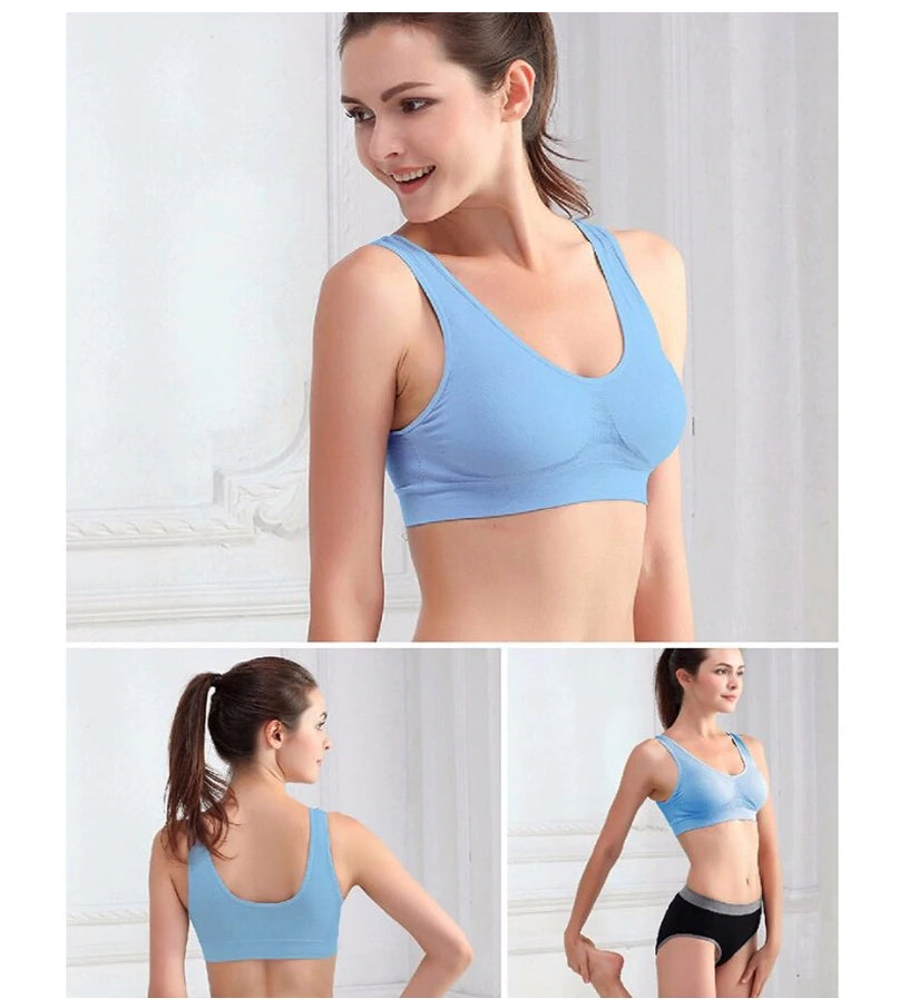 Fitness Yoga Running Vest Underwear Padded Crop Top Sports Bra Blue Color