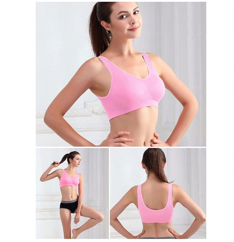 Fitness Yoga Running Vest Underwear Padded Crop Top Sports Bra Pink Color