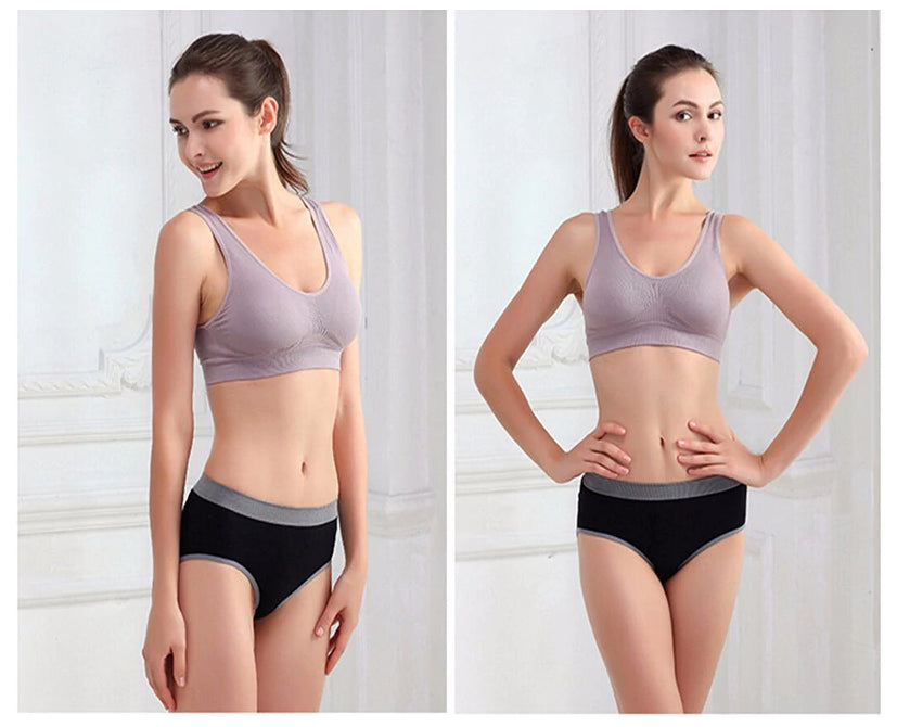 Fitness Yoga Running Vest Underwear Padded Crop Top Sports Bra White Color