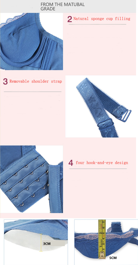 Blue bra cups and straps length details