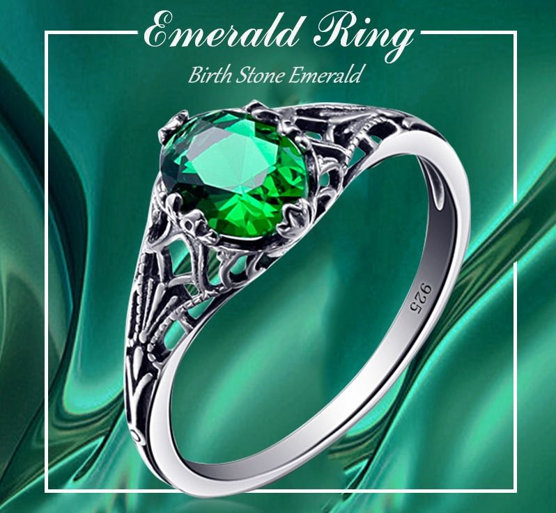 Bulgarian Emerald 925 sterling silver Ring look