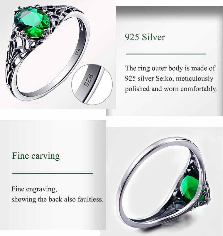 Bulgarian Emerald 925 sterling silver Ring  details