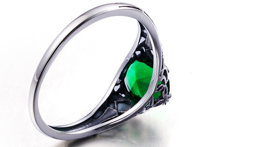 Bulgarian Emerald 925 sterling silver Ring  inside