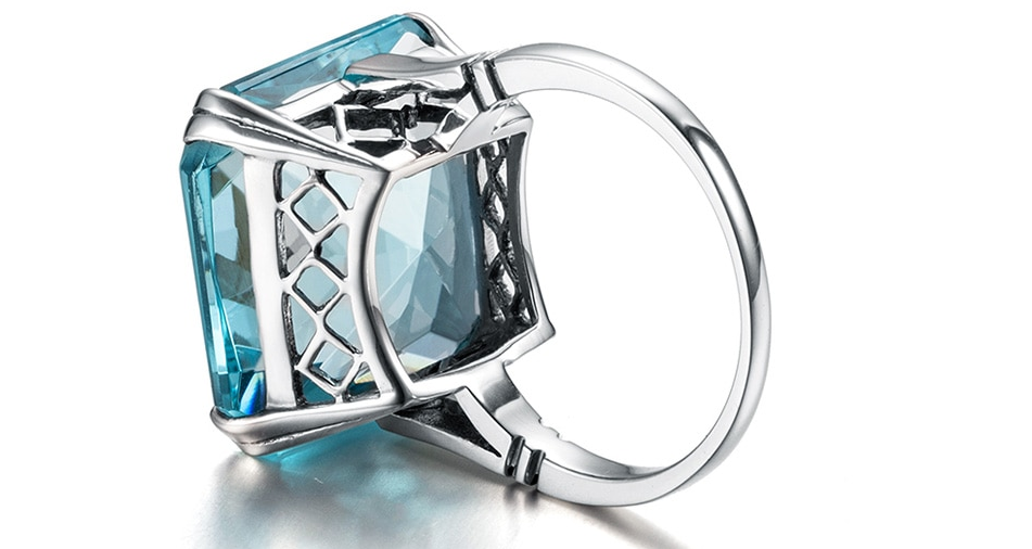 Square Aquamarine ring up look back look