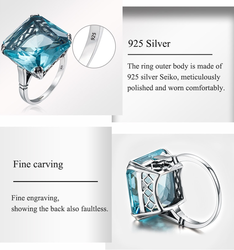 Square Aquamarine ring details
