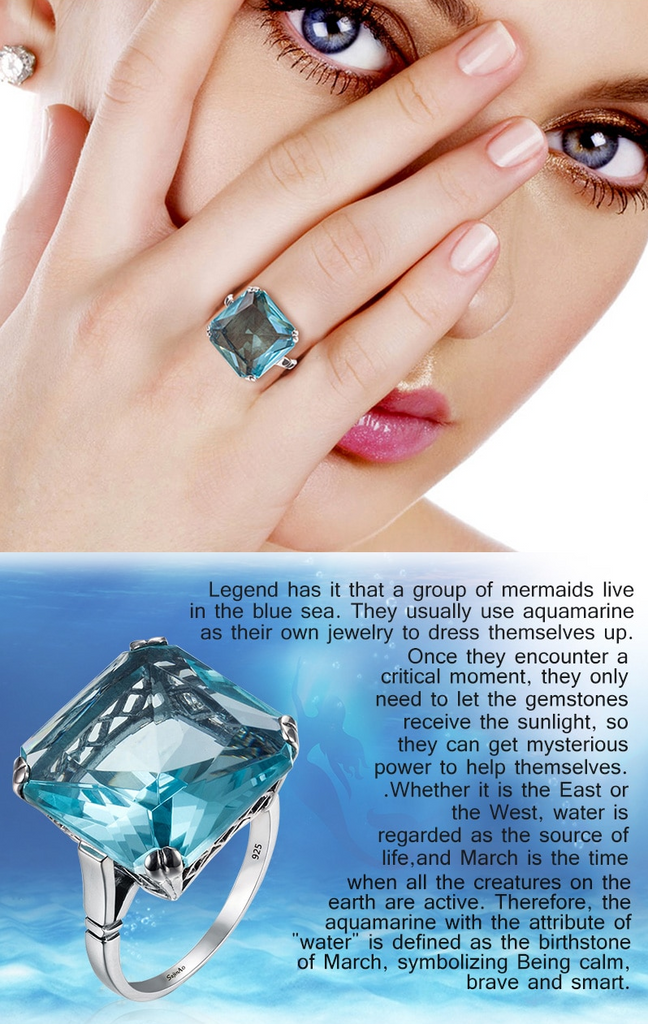 Square Aquamarine ring wearing by a lady