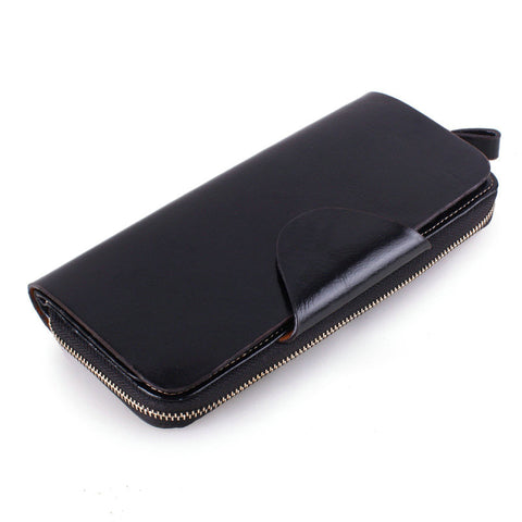 100% Oil Wax Cowhide Women Wallet Genuine Leather Vintage Long Credit Card Holder Money Bag Female Coin Purse Clutch for iPhone