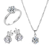 Silver Color Cubic Zircon Statement Necklace, Earrings & Rings