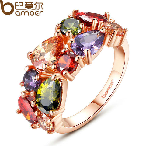 BAMOER Unique Design Rose Gold Color Mona Lisa Ring Colorful Cubic Zircon Bijouterie