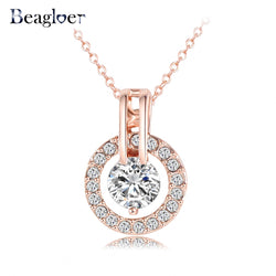 Beagloer Classic Necklace/Trendy Rose Gold Color Genuine Austrian Crystal Round Pendant