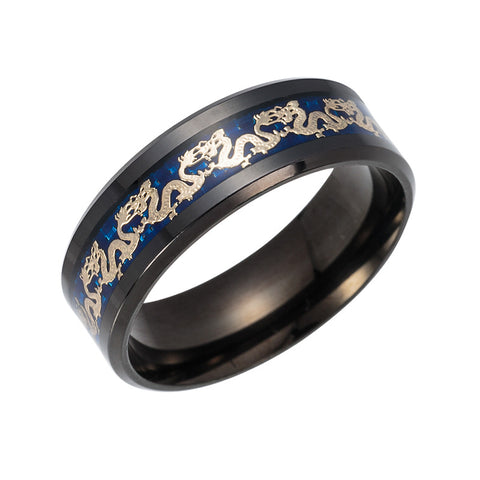 Black Ring Men Chinese Traditional Gold Dragon Inlay with Blue Stainless steel