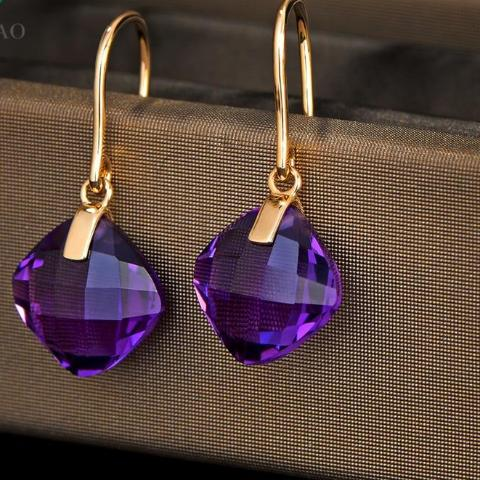 8.81ct Natural Cushion Cut Citrine Or Amethyst 14K Yellow Gold Drop Earrings
