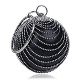 Circular Shaped Tassel Rhinestones Ladies Bags With Handle Diamonds Metal Handbags For Wedding/Party/Dinner Evening