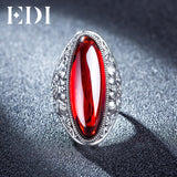Red Garnet Bijouterie  Retro 925 Silver Indian Ring