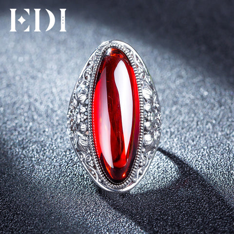 Red Garnet Bijouterie Retro 925 Silver Indian Ring – Lady