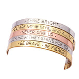 Fashion accessories jewelry brave letter wish design cuff bangle lovers' gift