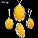 Simulated Oval Beeswax Jewelry Set / Hollow Flower Antique Silver Plated Stainless Steel Chain