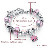 STUNNING SILVER PLATED DIY JEWELLERY FLOWER BEADS CHARM PANDORA BRACELET FEMME WITH MURANO PINK GLASS & CRYSTAL BEADS.