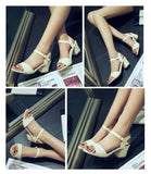 Open Toe Ladies Summer Chunky High Heels Sandals