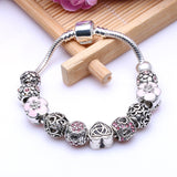 New Arrival Pink Flower Heart Charms Pandora Bracelets