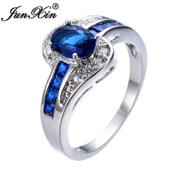 Blue Oval Zircon Stone Ring White Gold Filled Rings For Women Men