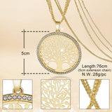 TREE OF LIFE GOLD PLATED LONG NECKLACE/ VINTAGE CRYSTAL MULTI-LAYER PENDANT NECKLACE.