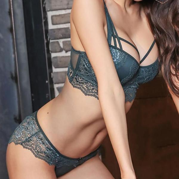 Cotton Push-up Bra and Panty Sets 3/4 Cup Brand Green Lace Lingerie Set Deep V Brassiere Black