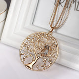 Owl Pendant Long Necklace Silver Rose Gold Color Chain Crystal