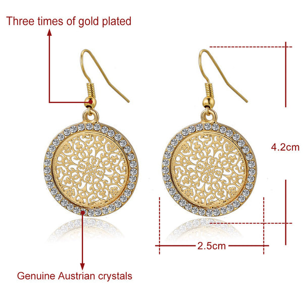 Big Round Flower Gold/Silver Statement Drop/ Crystal Wedding Earring.