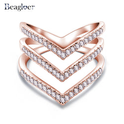 Beagloer 2017 New Fashion Ring Rose Gold Color Trendy Three V Shape Ring