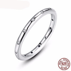 Real Authentic 925 Sterling Silver Droplets Stackable Engagement Rings With Clear CZ For ladies